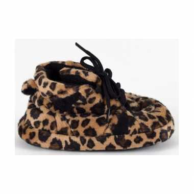 Baby slofjes luipaard bruin