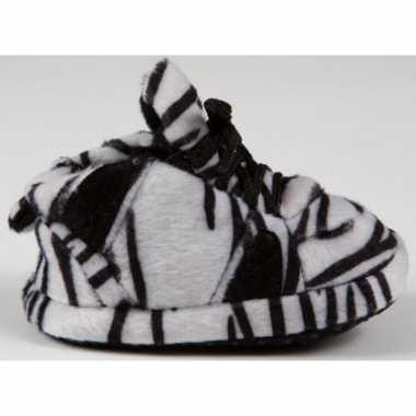 Baby slofjes zebra zwart/wit