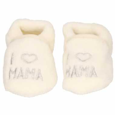 Creme witte jongens/meisjes baby slofjes i love mama